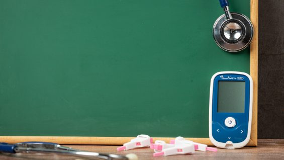 World diabetes day;Medical equipment in front of blackboard